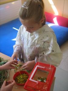 Mädchen sammelt Blumen