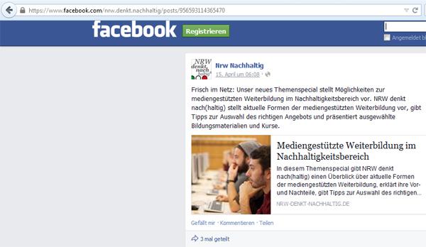 Beispiel für einen Permalink bei Facebook, der in der Adresszeile erscheint, sobald auf die Uhrzeit des Beitrags geklickt wurde.